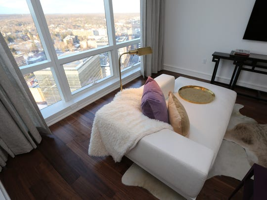 A view of one of the rooms in Penthouse C at The Residences