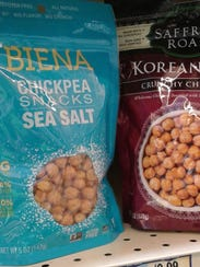 Roasted chickpeas available as snack food in supermarkets.