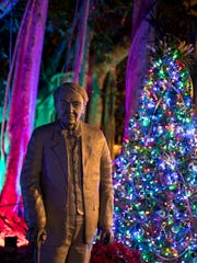 The historic buildings and acres of gardens at Edison & Ford Winter Estates are decorated for the season.