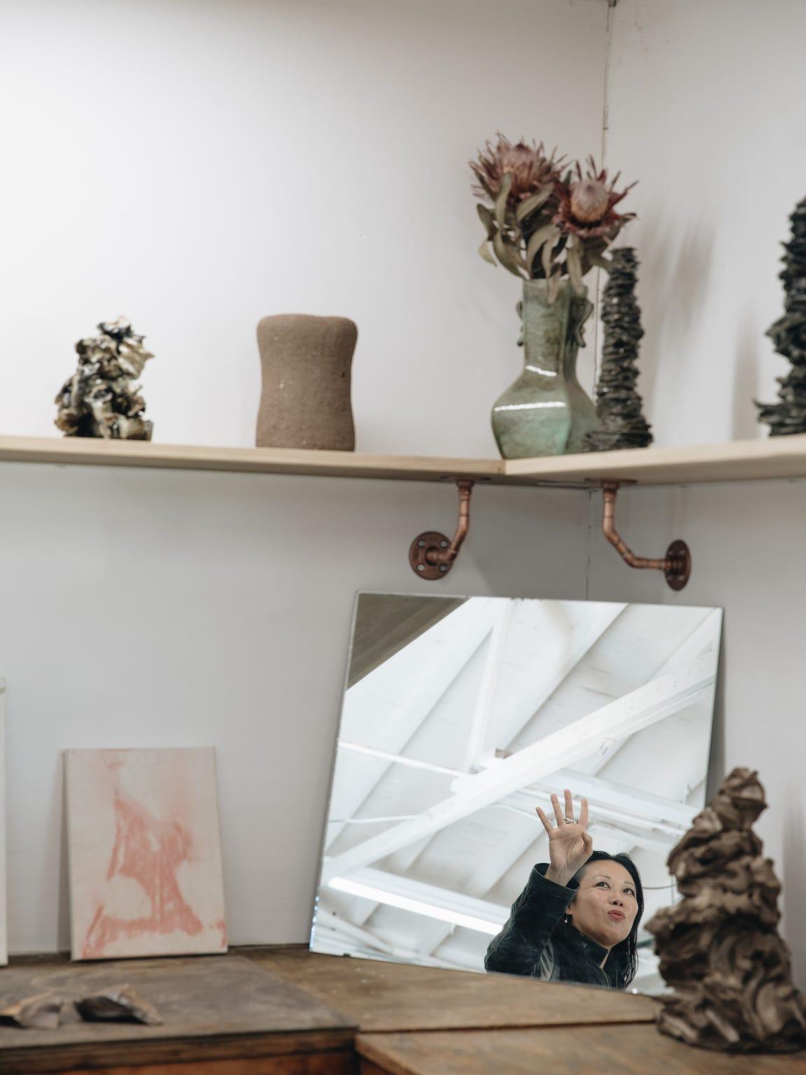 Artist Angel Chen in her studio in Joshua Tree