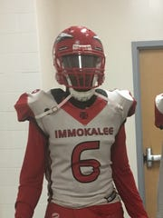 Immokalee High School defensive end Gonzalez Fleriot