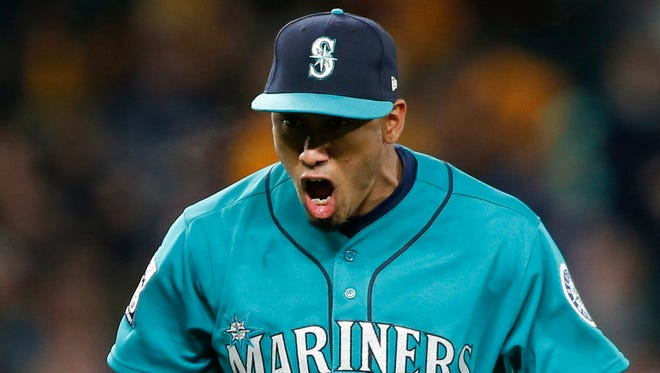 Apr 14, 2017; Seattle, WA, USA; Seattle Mariners relief pitcher Edwin Diaz yells out after getting an out during a game this month. Mandatory Credit: Jennifer Buchanan-USA TODAY Sports