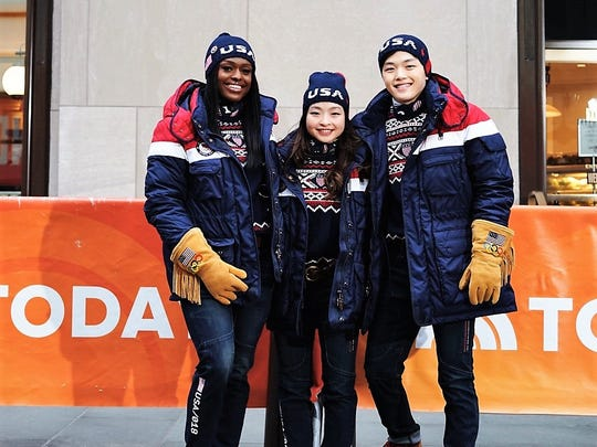 "From left to right: Aja Evens, Maia and Alex Shibutani, members of the U.S. Olympic team, on Monday's ""Today Show"" modeled some of the team's wardrobe for the upcoming Winter Olympics, including Ralph Lauren-designed jeans made by Roicom USA in El Paso."