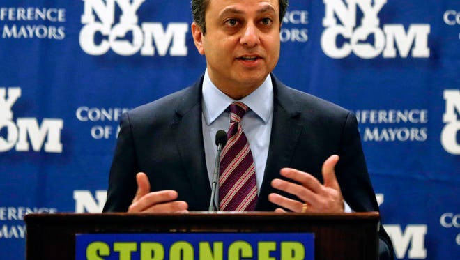 U.S. Attorney Preet Bharara speaks at the New York State Conference of Mayors and Municipal Officials meeting on Monday, Feb. 8, 2016, in Albany, N.Y. (AP Photo/Mike Groll)