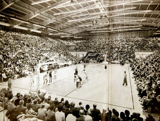 This is a photo from a 1962 basketball game at the Wigwam.