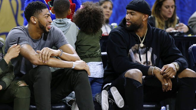 Anthony Davis talks to DeMarcus Cousins during the NBA All-Star Celebrity Game at the Mercedes-Benz Superdome during All Star Weekend. Now it appears these two will be teammates.