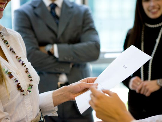 Showing paperwork