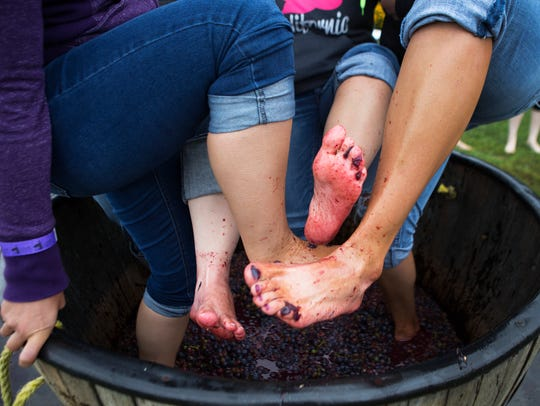 Friends show off their feet while stomping grapes at