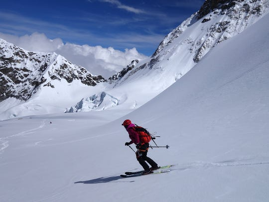 Ski mountaineer Hilaree O'Neill of Telluride, Colo., descends Makalu, the fifth highest peak in the world, during a recent expedition.