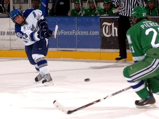 Eric Ehn takes a slap shot against Mercyhurst during his senior season at the U.S. Air Force Academy. The former Green Bay Gamblers forward was one of three finalists for the Hobey Baker Memorial Award as a junior in 2007.