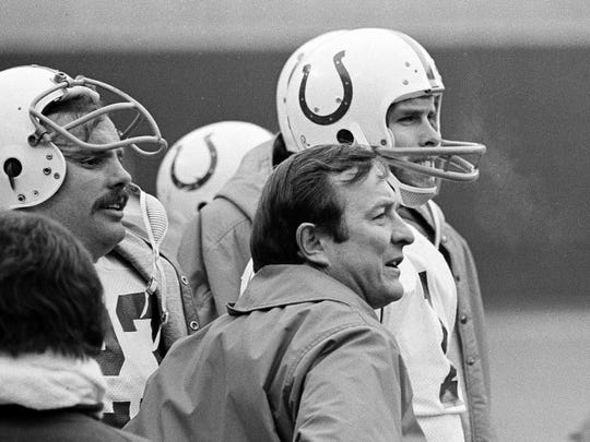 Baltimore Colts head coach Ted Marchibroda and quarterback Bert Jones watch the Colts defense at work against the Pittsburgh Steelers during a 1975 NFL playoff game.