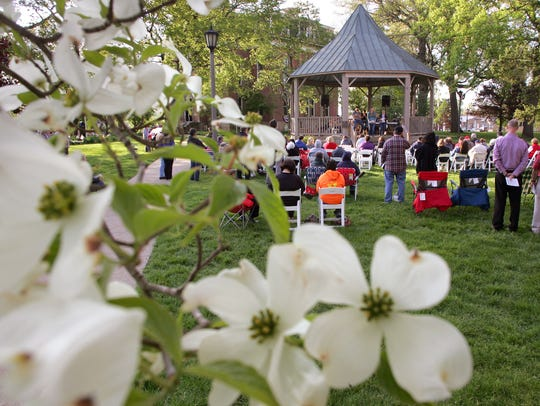A dogwood tree blooms near the Rotary Gazebo on Courtsquare