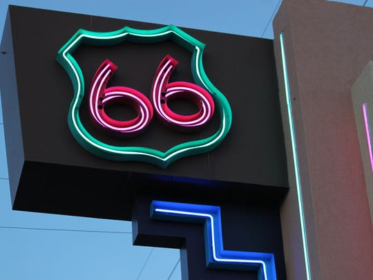 This June 21, 2016 photo shows one of the neon signs that lines historic Route 66 in Albuquerque, N.M.