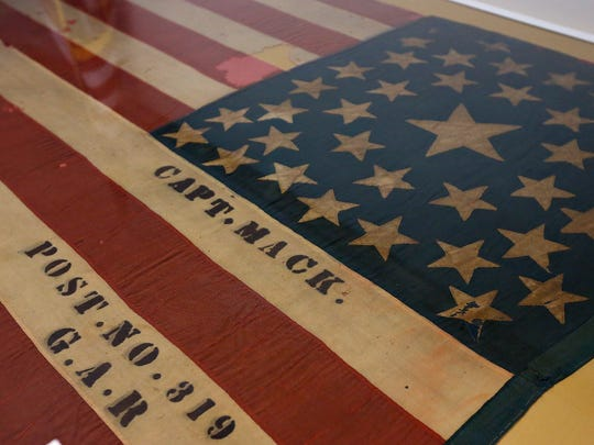 Detail of one of three historical American flags that were unveiled after being restored at Wilson's Creek National Battlefield in Republic, Mo. on Nov. 12, 2016.