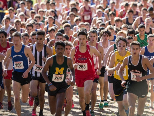 The boys race gets underway at the cross country Meet of Champions at Holmdel Park on Saturday.