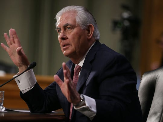 Former ExxonMobil CEO Rex Tillerson, President-elect Donald Trump's nominee for Secretary of State, testifies on Wednesday, Jan. 11, 2017, during his confirmation hearing  in Washington, D.C.