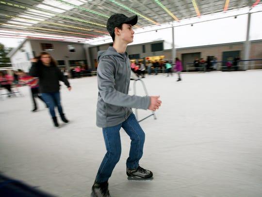 Aaron Looney, 15, of Bridgewater skates around Generations