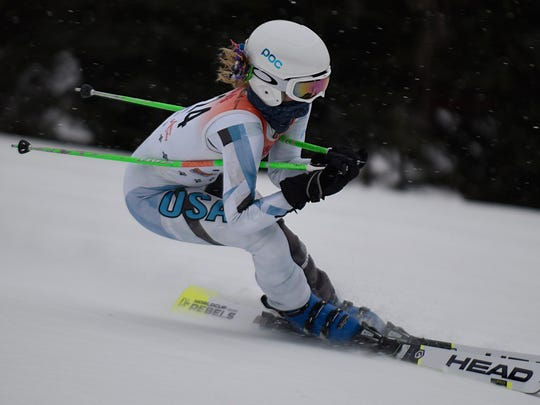 Bloomfield Hills' Catherine Coates raced to 12th place in the slalom event at Wednesday's regional at Mt. Holly.