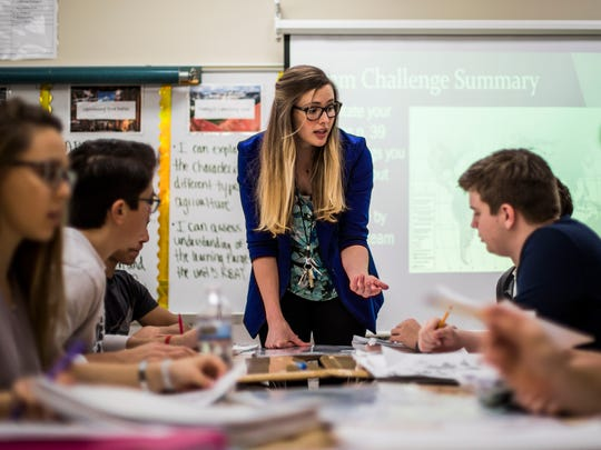 Geography teacher Kristi Neuroth leads her class at