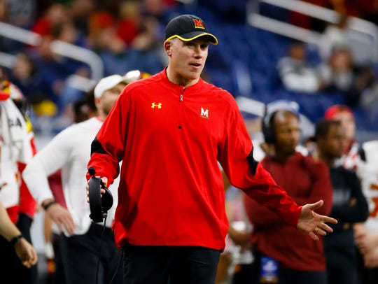 Maryland coach D. J. Durkin reacts to a call during