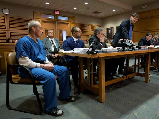 Richard Beranek sits with his attorneys, from left, Jarrett Adams, Keith Findley and Bryce Benjet in Dane County Circuit Court on Feb. 14, 2017. At right is the prosecution team, Assistant Attorney General Robert Kaiser and Assistant Dane County District Attorney Erin Hanson. Beranek, who has been in prison for 27 years, is seeking a new trial after DNA testing excluded him as the source of hair and semen found at the scene of a 1987 sexual assault.