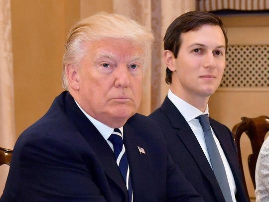 Jared Kushner joins President Trump during a meeting