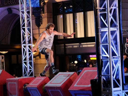 "Knoxville native Grant McCartney competes in the Los Angeles Qualifier round in the ninth season of NBC's ""American Ninja Warrior."""