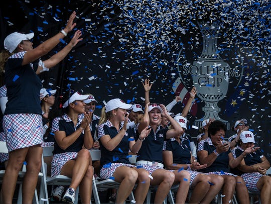 Team USA celebrates after winning the 2017 Solheim