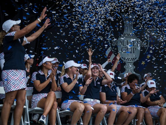 Team USA celebrates after winning the 2017 Solheim Cup during the tournament's closing ceremony on Sunday, August 20, 2017, in Des Moines.