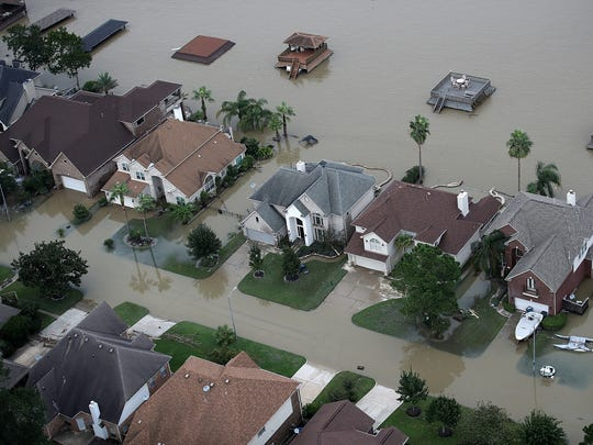 Flooded homes are shown on Aug. 30, 2017, near Lake