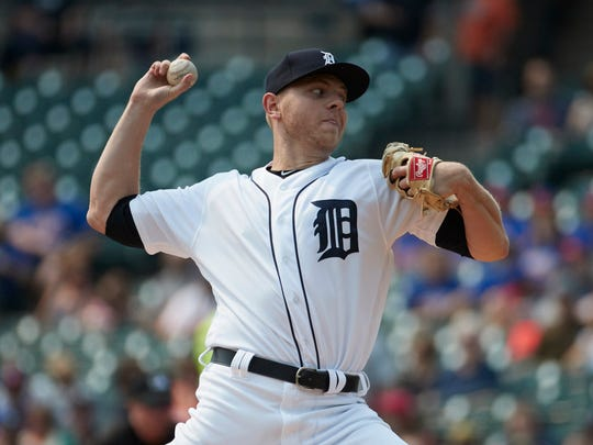 Detroit Tigers starting pitcher Artie Lewicki (57) pitches in the first inning against the Kansas City Royals at Comerica Park.