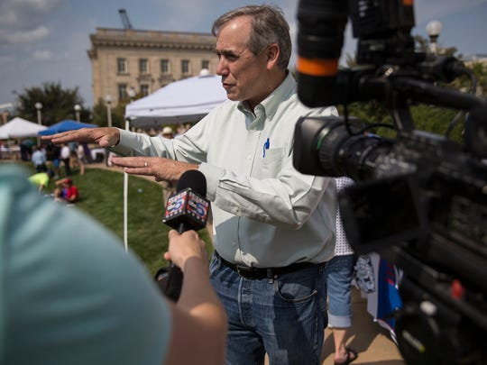 U.S. Sen. Jeff Merkley, from Oregon, gives an interview at the annual Progress Iowa Corn Feed fundraiser on Sunday, Sept. 10, 2017, at the Simon Estes Amphitheater in downtown Des Moines.