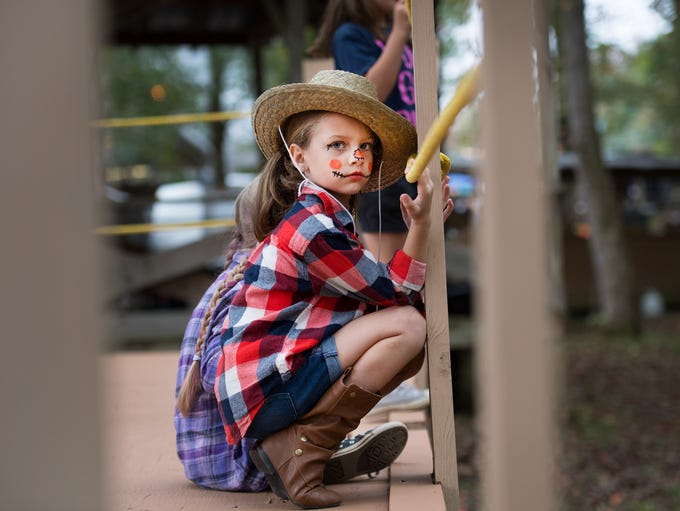 Claire Jones, 6, of Easley waits to perform with the