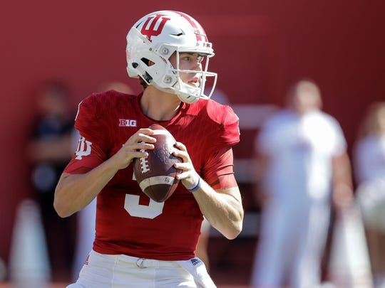Indiana quarterback Peyton Ramsey drops back to pass during the first half of an NCAA college football game against Michigan in Bloomington, Ind., Saturday, Oct. 14, 2017.