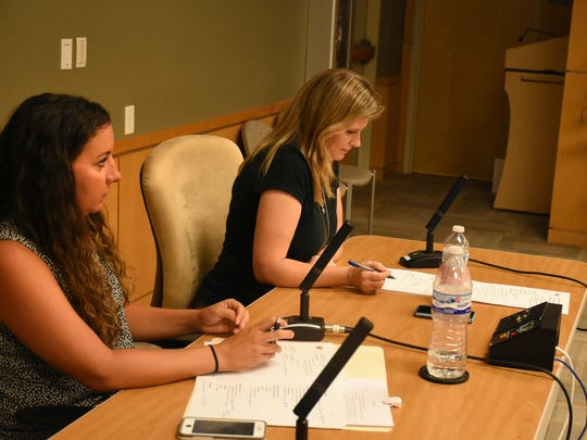 Martha Montgomery, left, and Samantha Malloy of the city staff give reports at a Marco Island Parks and Recreation Advisory Committee meeting last year.
