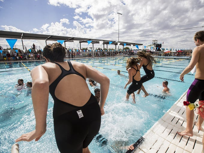 Chaparral celebrates after the Div. II Swimming State