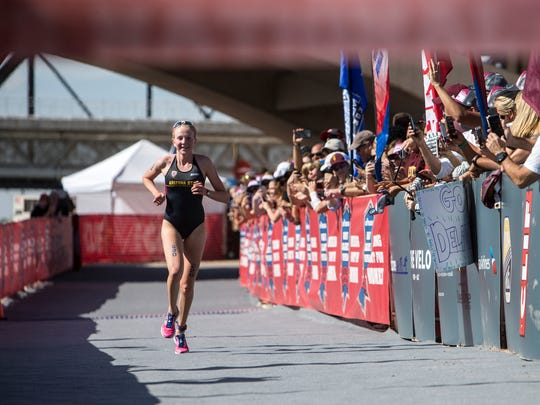 Hannah Henry approaches the finish line during the