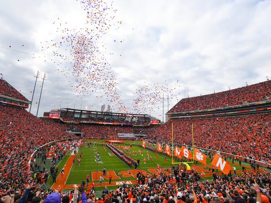 Clemson takes the field at Clemson Memorial Stadium on Saturday, November 11, 2017.