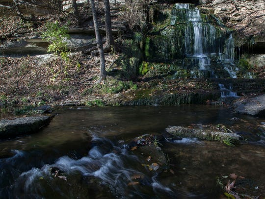 Water flows from Beulah Falls in to Bloody Run Creek