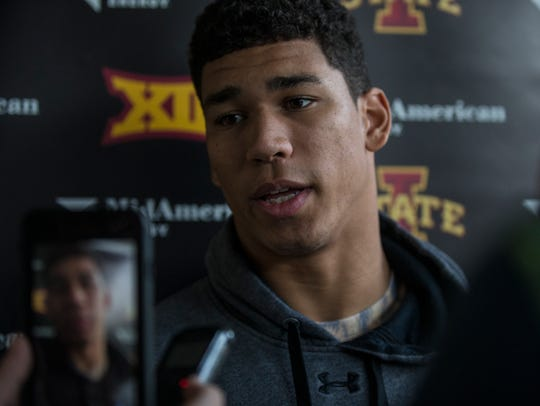 Allen Lazard, a senior on the Iowa State football team,