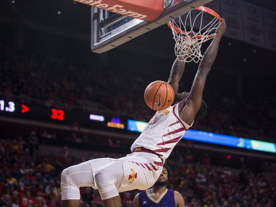 Iowa State's Cameron Lard dunks the ball during the