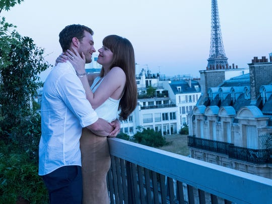 "Christian Grey (Jamie Dornan) and Anastasia Steele (Dakota Johnson) are newlyweds in the final chapter of their saga, ""Fifty Shades Freed."""