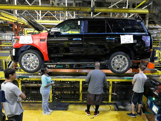 The 2018 Ford Expedition SUV goes through the assembly