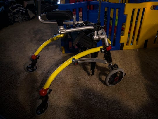 An old walker, outgrown by Tatum, a four-year-old Vinton resident with the rare genetic disorder Kabuki syndrome. He needs a new walker but Amerigroup, his Medicaid provider, will only reimburse a fraction of the cost.