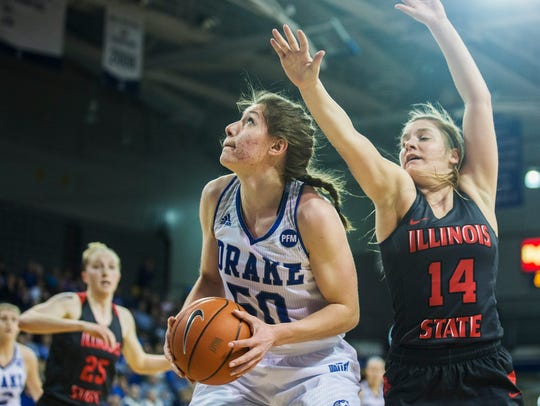 Drake's Sara Rhine looks to shoot the ball during the