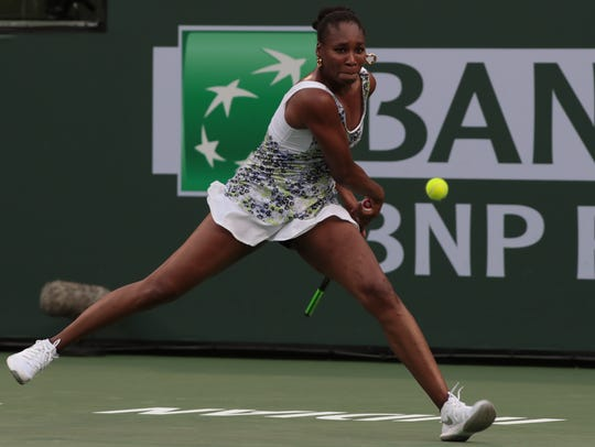 Venus Williams returns to Anastasija Sevastova at the