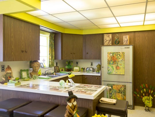 "The kitchen with retro appliances at ""Lion Gate Estate"" on Grixdale Avenue in Detroit on Friday, March 16, 2018."