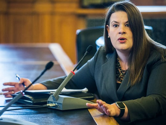 Melissa Peterson, a lobbyist for the Iowa State Education Association, speaks in opposition to the Iowa Student Opportunity Act during a subcommittee meeting to discuss the bill Thursday, March 22, 2018, at the Iowa Capitol in Des Moines.