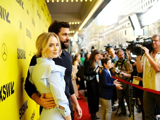 """Emily Blunt and John Krasinski attend the premiere of """"A Quiet Place"""" on March 9, 2018, in Austin, Texas."""