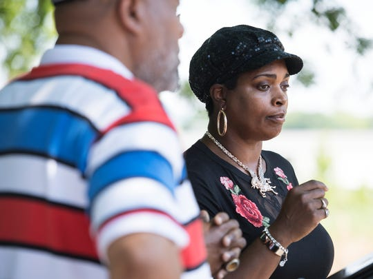 Community activist Traci Fant speaks during a press conference on Friday, May 11, 2018.